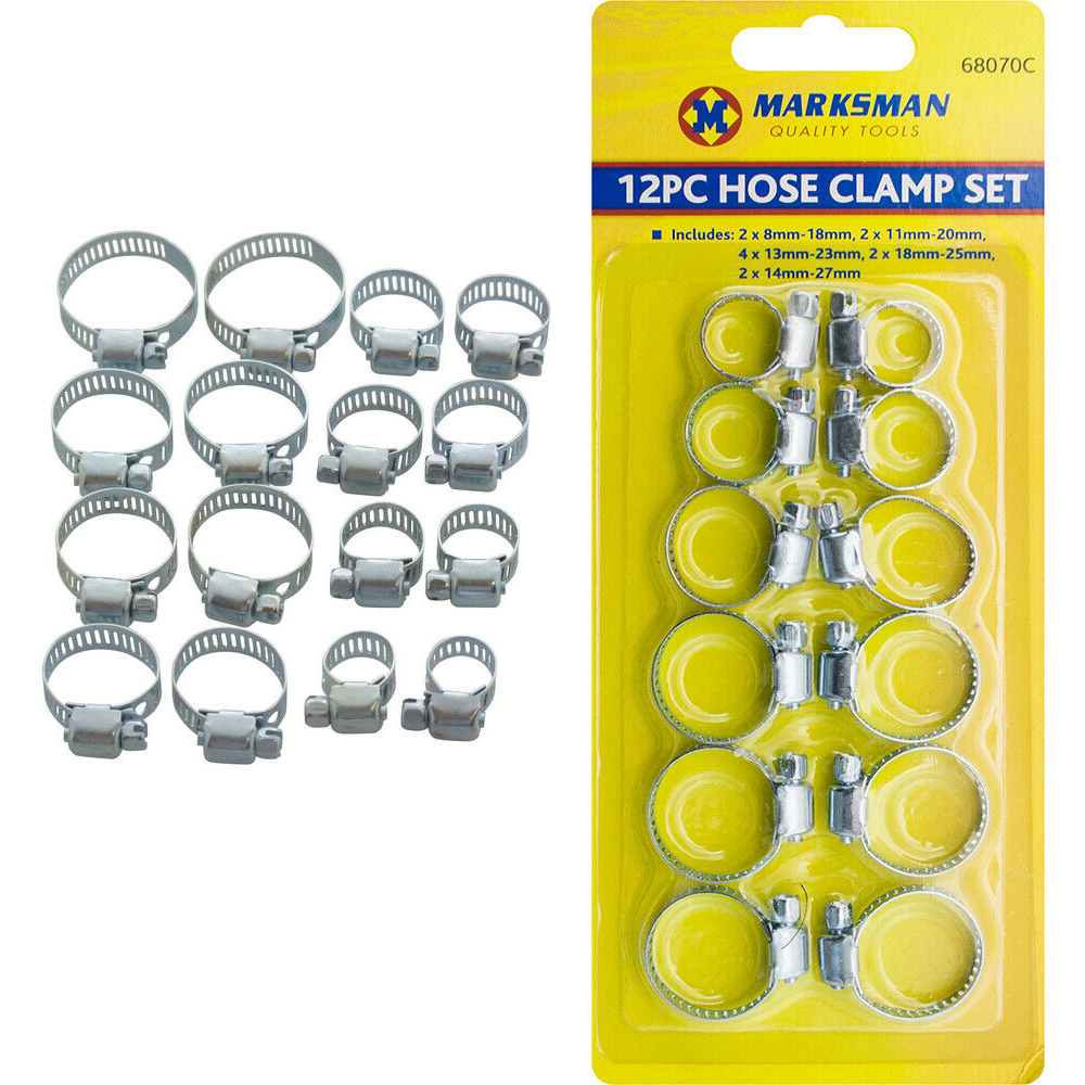 12pc QUALITY Assorted Hose Clamps Set Jubil Clips Steel Pipe Clamps UK Seller